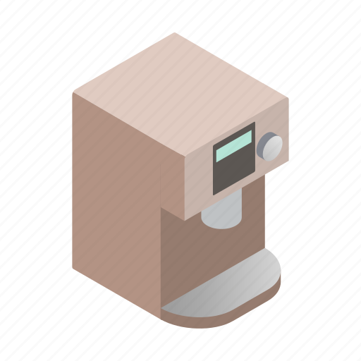 beverage, coffee, drink, isometric, machine, sign, style icon