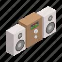 audio, isometric, music, sound, speaker, stereo, system