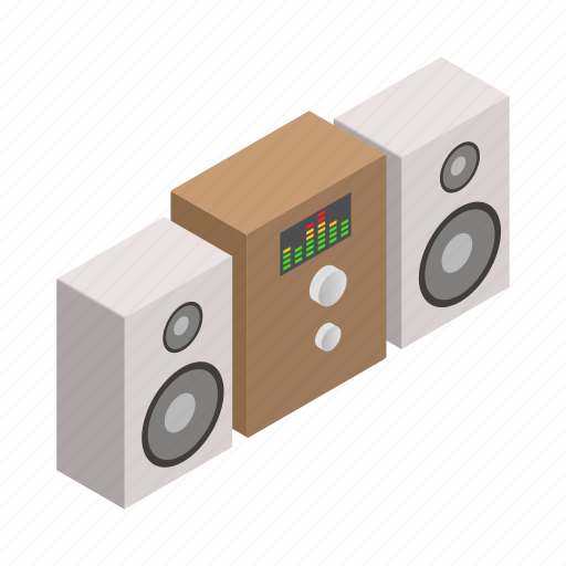 audio, isometric, music, sound, speaker, stereo, system icon