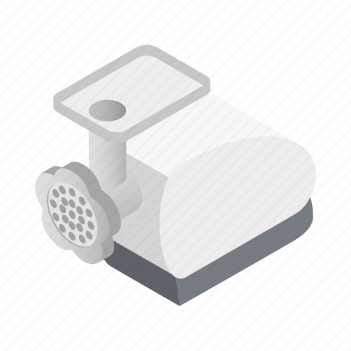 beef, grinder, isometric, kitchen, meat, mincer, tool icon