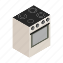 appliance, electric, household, isometric, kitchen, oven, stove icon