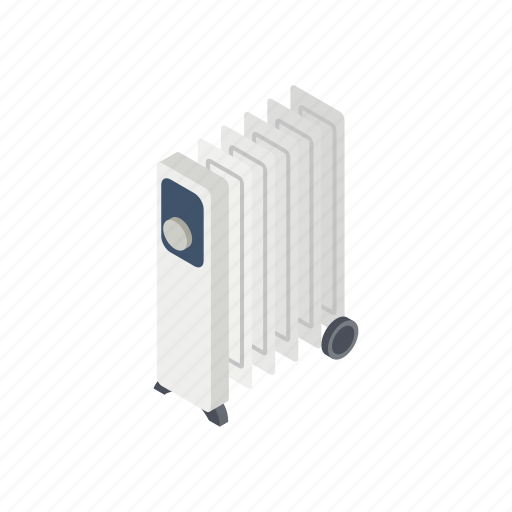 electric, heater, isometric, oil, power, style, temperature icon