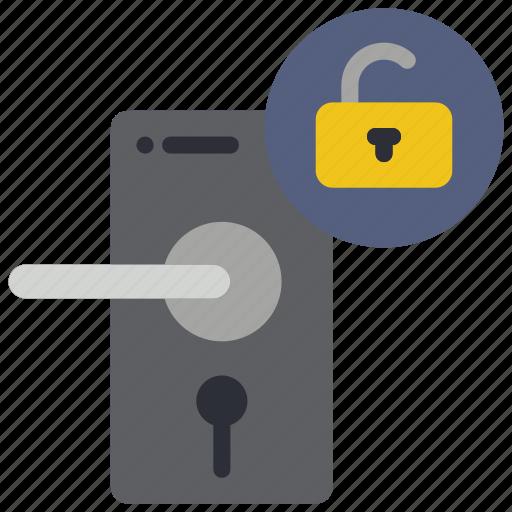 automation, door, home, unlocked icon
