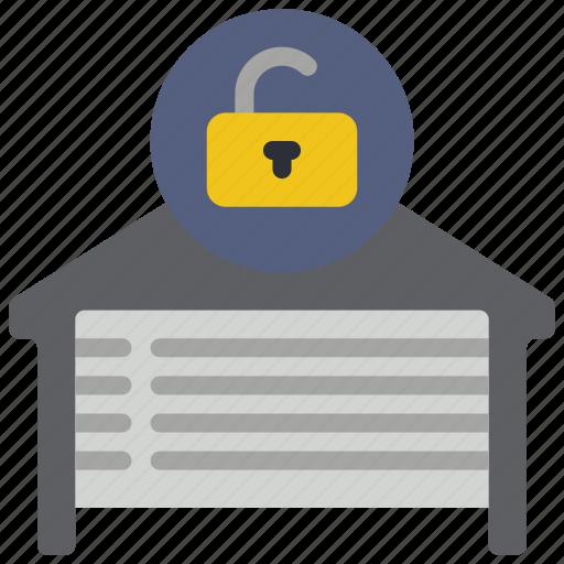 automation, garage, home, unlocked icon