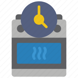 automation, cooker, home, oven, timer icon