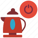 automation, drink, home, kettle, off, power icon