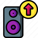 automation, home, music, send, speaker, up icon
