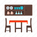dining, furniture, home, interior, room, table icon