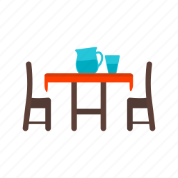 chairs, dining, dinner, food, glass, home, table icon