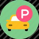 car, hotel, park icon