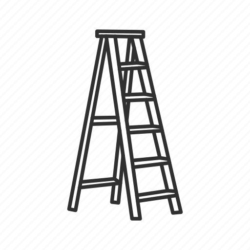 climbing equipment, equipment, household, ladder, step ladder, steps, tools icon