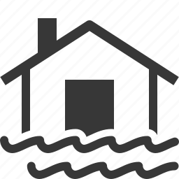 flood, home insurance, house, water icon