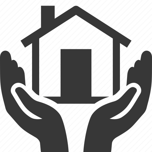 hands, home insurance, house, safe icon