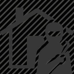 burglary, home insurance, thief, vandalism icon