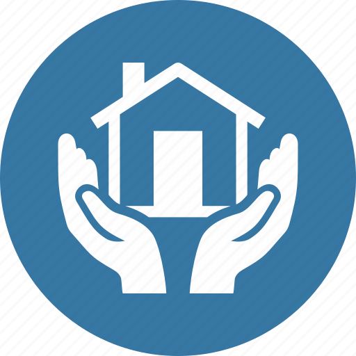 hands, home insurance, house, protection, safe icon