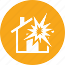 explosion, home insurance, house icon