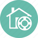 home insurance, lifebuoy, protection icon