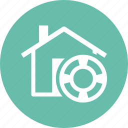 home insurance, lifebuoy, protection icon