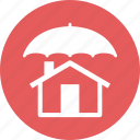 home insurance, home protection, safe, umbrella icon