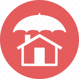 home insurance, home protection, safe, umbrella icon
