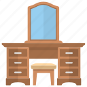bedroom dressing, dressing table, dressing vanity, furniture, room interior icon