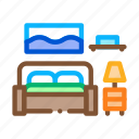 bedroom, furniture, home, lamp, rooms, sofa, table icon