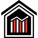 bars, buying, equity, home, realestate, up icon