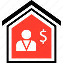 buying, dollar, equity, home, person, realestate icon
