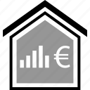 bar, buying, equity, euro, home, realestate icon