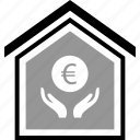 buying, coin, equity, euro, home, realestate icon
