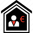 buying, equity, euro, home, person, realestate icon