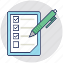 checklist, pen, clipboard, document, questionnaire