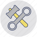 garage tools, maintenance, mechanic garage, spanner and hammer, tools icon