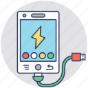 battery charger, mobile power, phone charging, phone plugged in