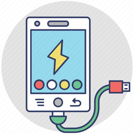 Battery charger, mobile power, phone charging, phone plugged in icon - Download on Iconfinder