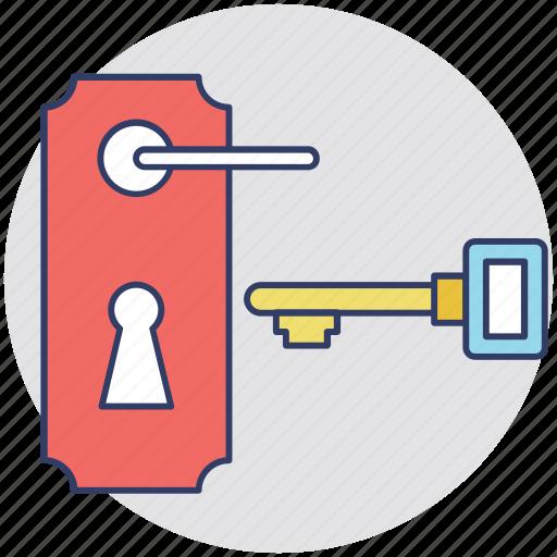 door lock, hotel room, house door, real estate concept, residential door icon