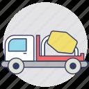 concrete mixer truck, construction vehicle, cement truck, mix truck, cement mixer