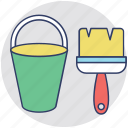 house renovation, paint bucket, painting tools, painting, paint brush