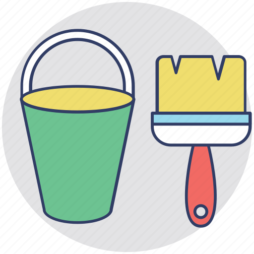 House renovation, paint bucket, painting tools, painting, paint brush icon
