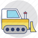 bulldozer, crawler, excavator, large machinery, tractor icon