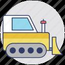 bulldozer, excavator, large machinery, tractor, crawler
