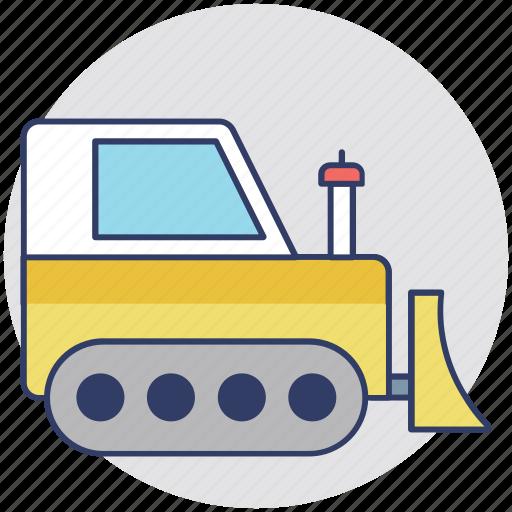 bulldozer, crawler, excavator, large machinery, tractor icon