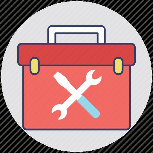 hand tool box, hand tool kit, mechanism, technician, tool kit icon