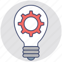 bright idea, creative idea, development, gear bulb, inspiration symbol icon