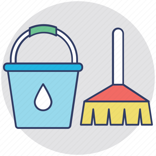 cleaning equipment, house cleaning, housekeeping, janitor services, mop and bucket icon