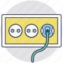 electric outlet, electricity, electricity plug, multiple sockets, power socket icon