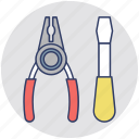garage tools, maintenance, plier, screwdriver, tools icon