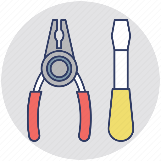 garage tools, maintenance, plier, screwdriver, tools icon
