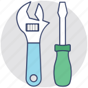 garage tools, maintenance, screwdriver, tools, wrench icon