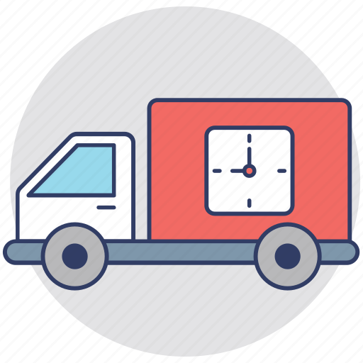 delivery on time, delivery schedule, express delivery, fast delivery, logistic van icon